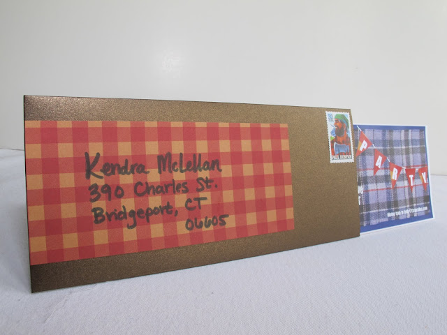 The lumberjack invites were made with paper and fabric, and then scanned into a computer to be printed off on white card stock. A brown envelope and a lumberjack stamp made them complete.