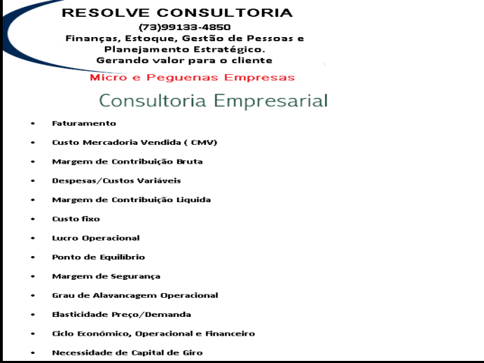 RESOLVE CONSULTORIA FINANCEIRA