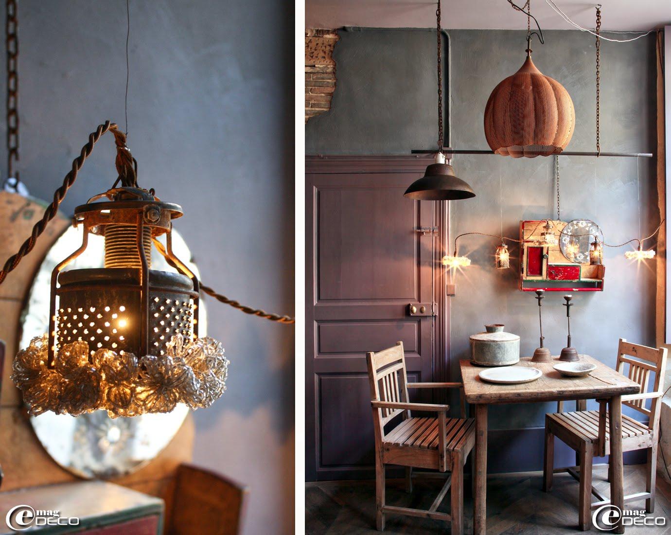 Luminaires réalisés avec des objets détournés, 'Métamorphoses' à Bellême