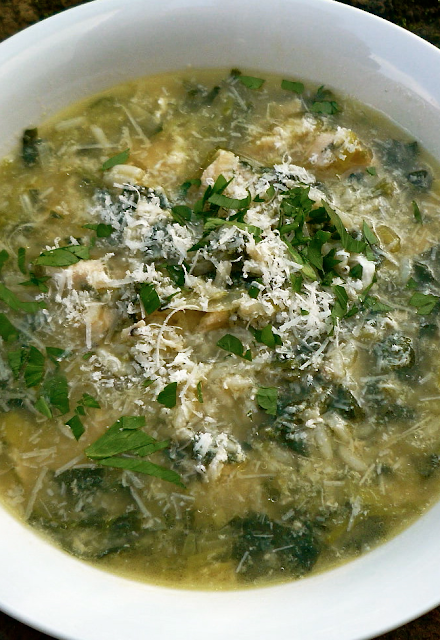 Stracciatella Soup with Spinach, Chicken & Rice