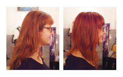 Marie, de profil, avant et après visite au Studio 54, coiffure et couleur réalisées par Eddy, coiffeur - visagiste à Montpellier.