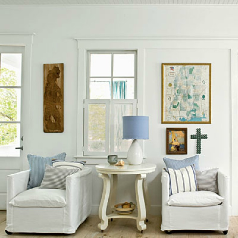 Coastal space with white slipcover chairs