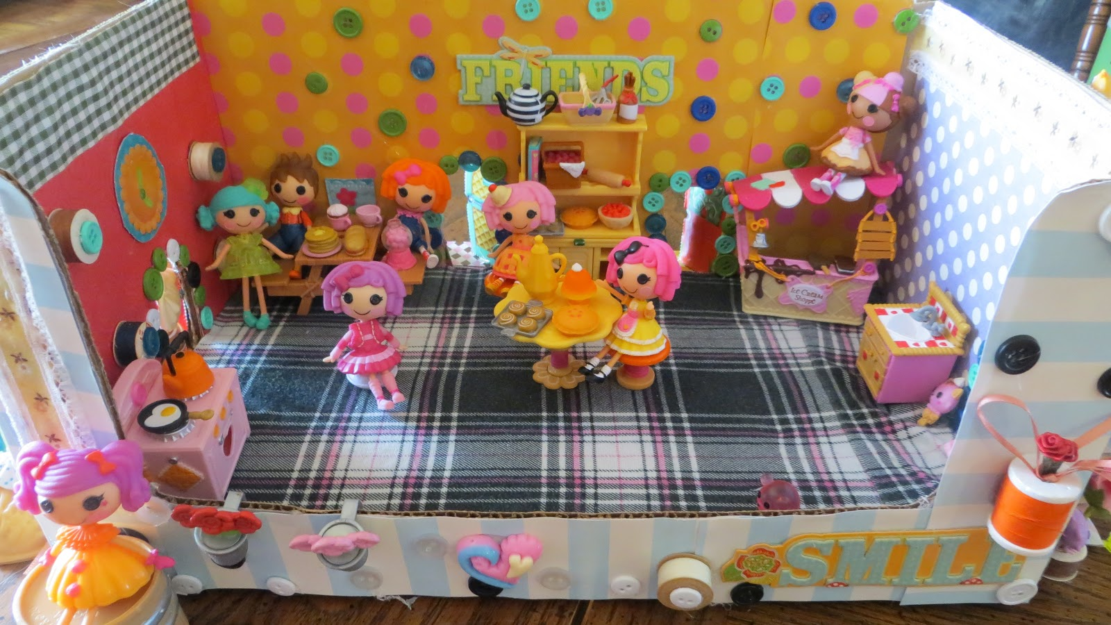 Lovely ... Scrapbook Paper, Sewing Bobbins, Buttons, Thread Spools And The Cute  Lalaloopsy Cardboard Houses That The Mini Dolls Come Packaged In.