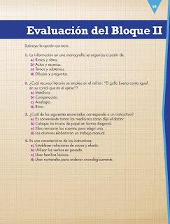 Apoyo Primaria Español 4to Bloque II Evaluación del Bloque II