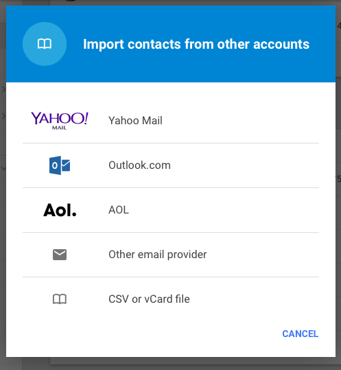 import contacts: