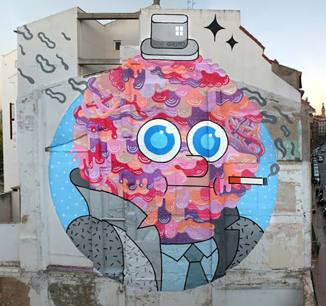 """Mr Beef"" Street Art By GR170 In Zaragoza, Spain For Asalto Urban Art Festival. 2"