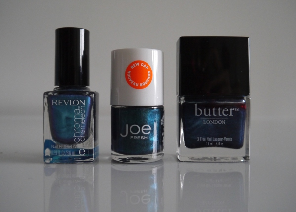 Metallic blue nail polishes for Autumn/Winter 2013. Revlon Chroma Chameleon 'Aquamarine', Joe Fresh 'Peacock'