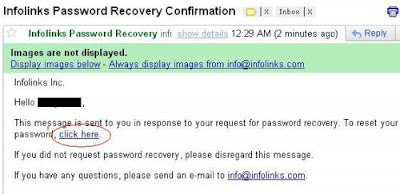 Infolinks Password Recovery Confirmation
