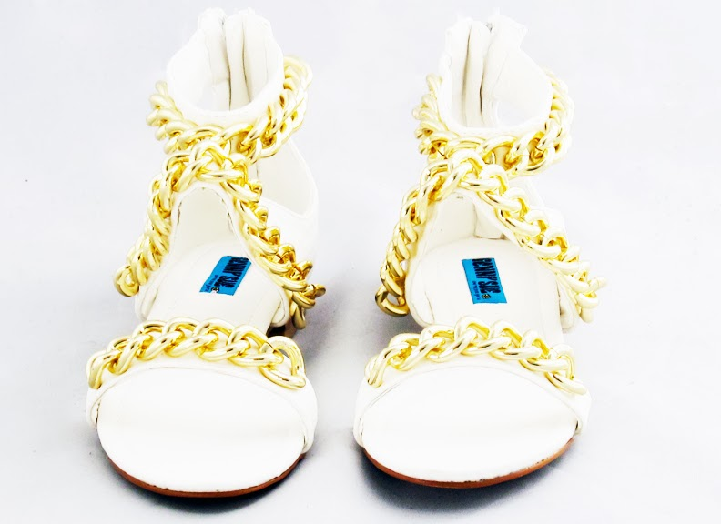 white leather open toe sandals with gold chain links