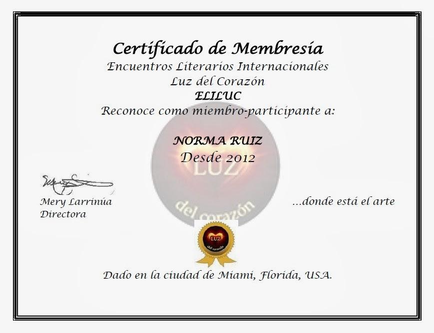 Gracias por el Certificado de Membresía-Encuentros Literarios Internacionales Luz del Corazón