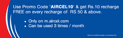 Get Rs 10 Free Recharge on Every Rs 50 Recharge From Aircel