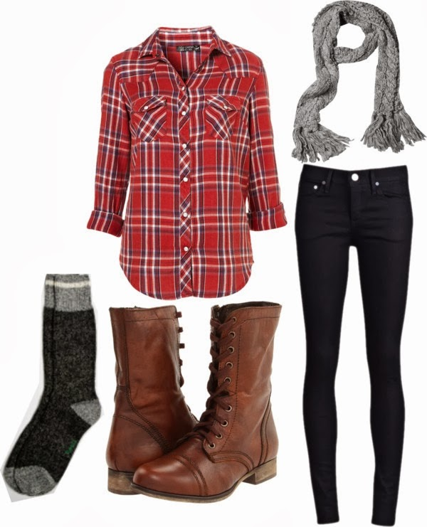 Grey scarf, red shirt, black skinnies, socks and brown long neck shoes for fall and winters