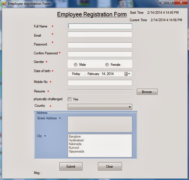 Registration form in AspNet CNet winforms using 3tier – Employee Registration Form
