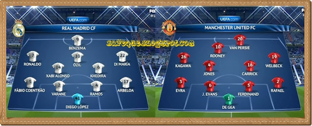 line up real madrid vs manchester united uefa champions league