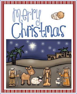 Nativity Christmas Cards blue Christmas theme - to print