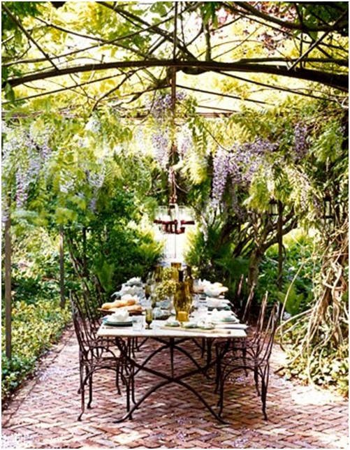 Pergola or arbour in a garden or terrace