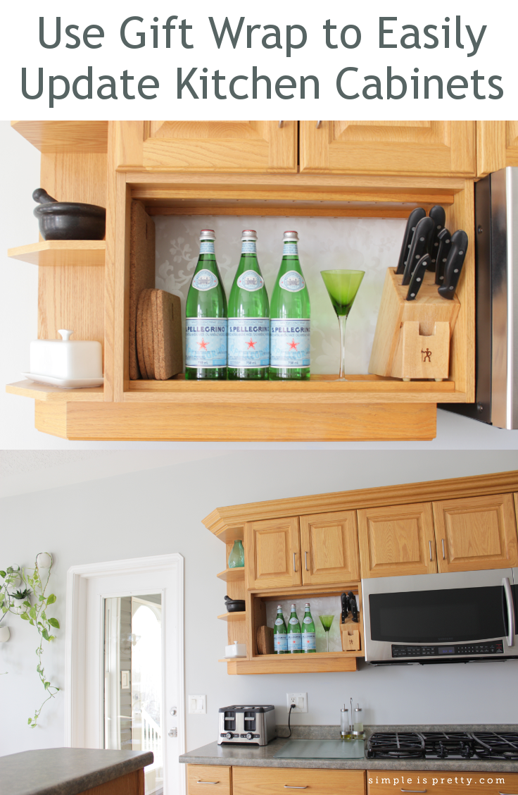 Use gift wrap to update kitchen cabinets by www.simpleispretty.com