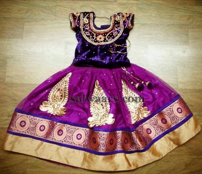 Net Lehenga with Velvet Border