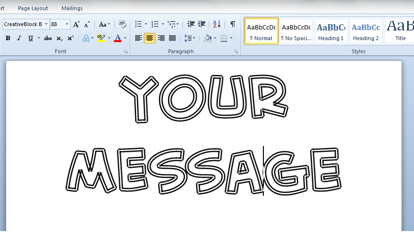 how to make cut out letters for paiting in word