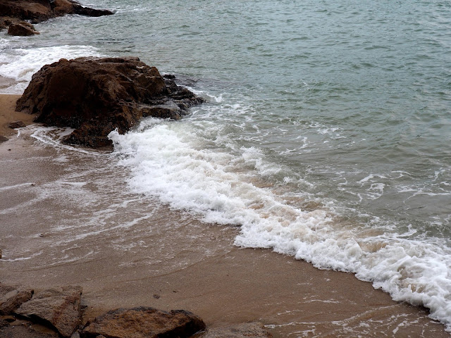 Waves crashing on the beach on the north side of Cheung Chau Island, Hong Kong