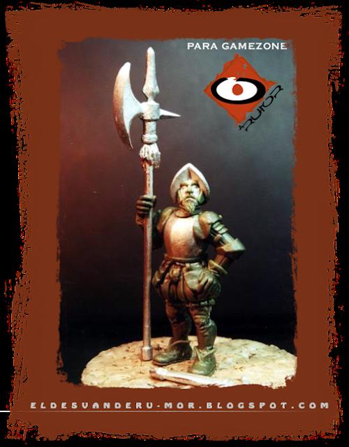 Miniatura diseñada y esculpida por ªRU-MOR para Gamezone, ejercito de los tercios del Imperio de Warhammer Fantasy. Alabardero