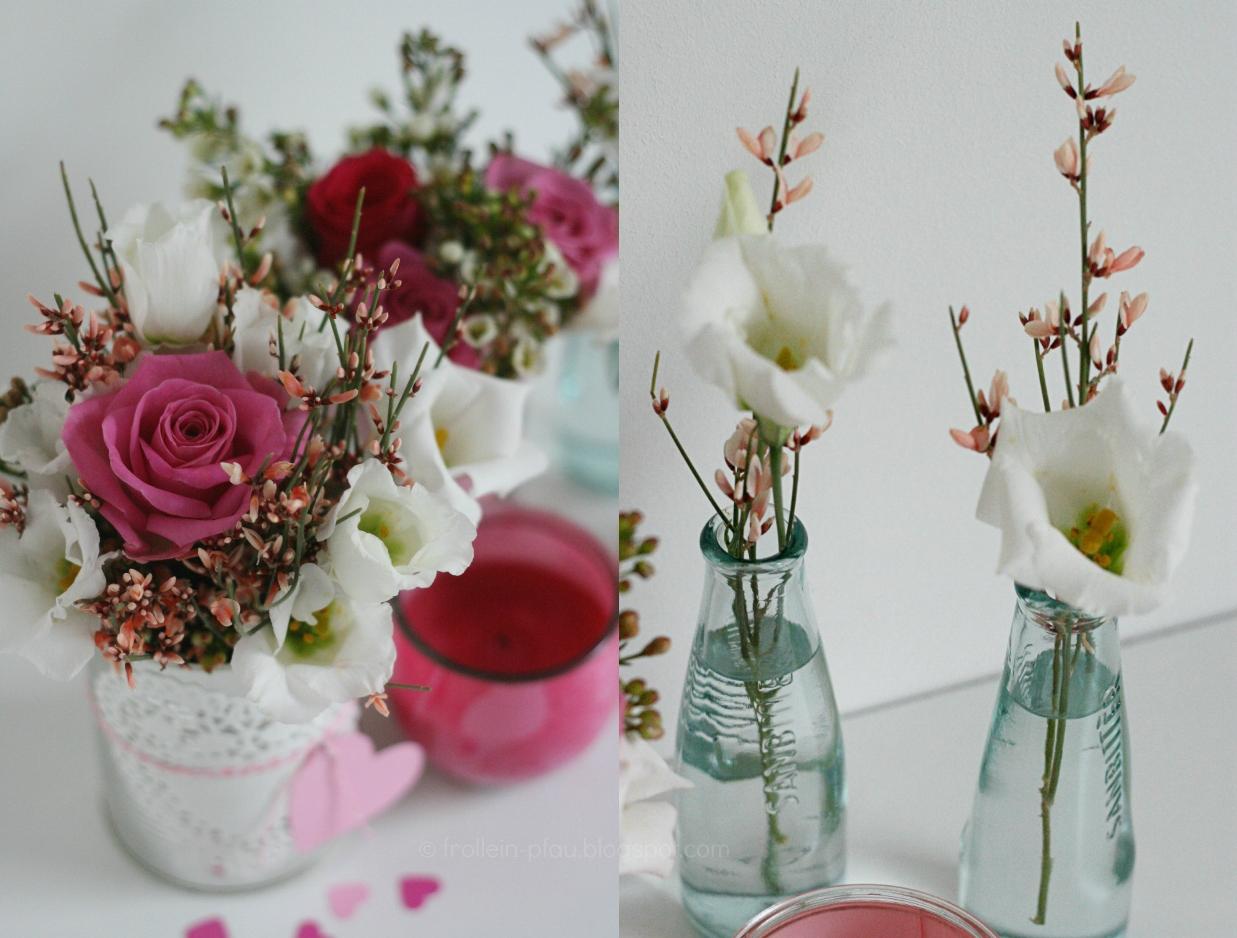 Creadienstag, Altglas, Konserven, Blechdose, Blechbüchse, DIY, selbstgemacht, Mitbringsel, kleines Geschenk basteln, Vase, Tortenspitze, Blumendeko Hochzeit, Geburtstag, Gesteck, Blumengesteck, Tischdeko, Liebe, Blumen, Blumenstrauß