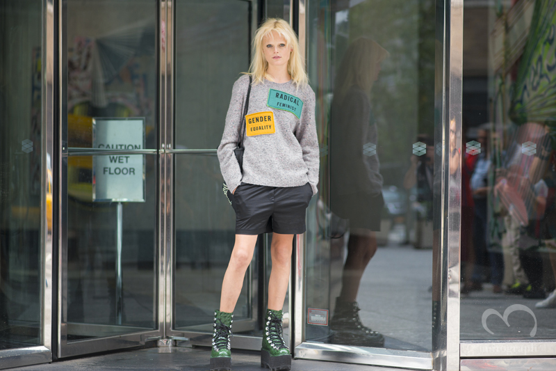Model Hanne Gaby Odiele wears Acne and Alexander Wang at New York Fashion Week 2016 Spring Summer NYFW
