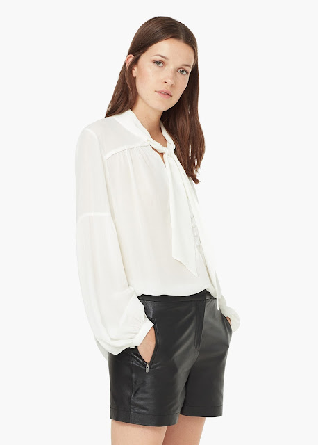 mango pussybow blouse, tie neck white blouse,