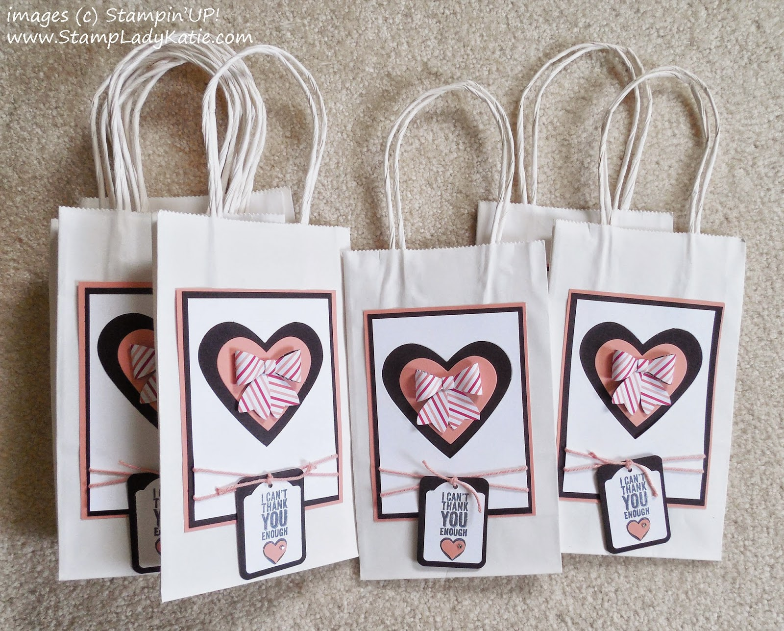 Gift Bag decorated with die cut hearts and a punched bow