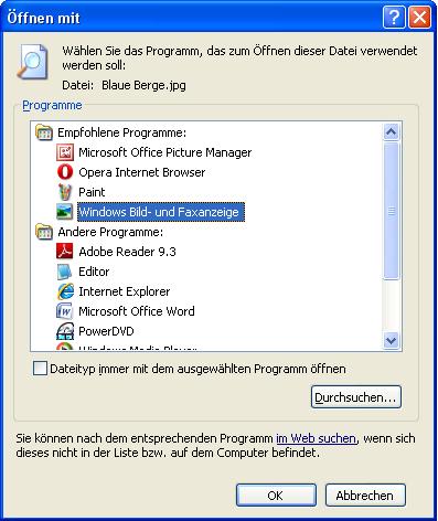 Dialogfenster Öffnen mit - Windows XP