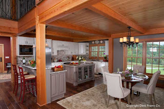custom post and beam gourmet kitchen