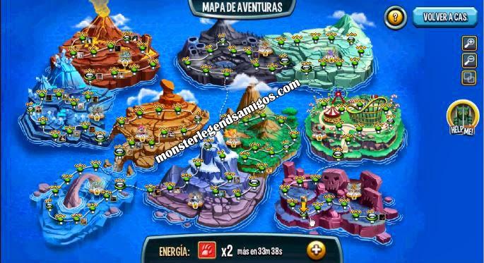 En el Mapa De Aventura podrás combatir con tus Monstruos para poder