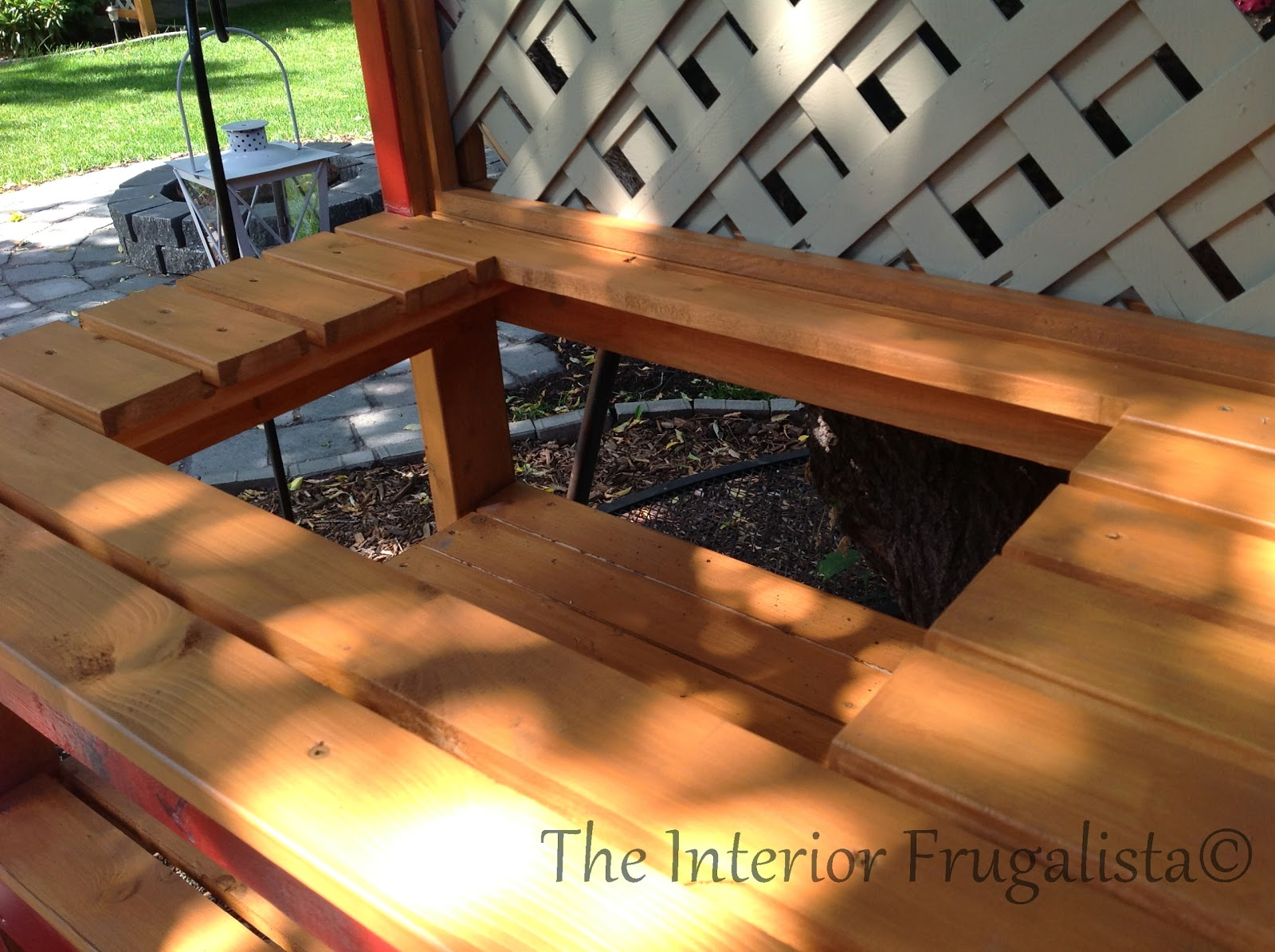 Easy DIY potting bench and outdoor bar with insert for tray or cooler