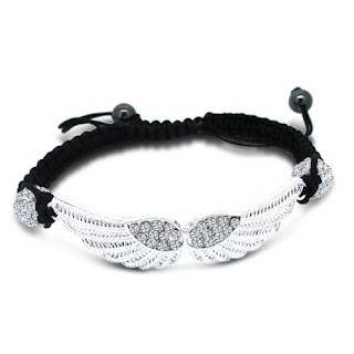 shamballa black laced wings bracelet