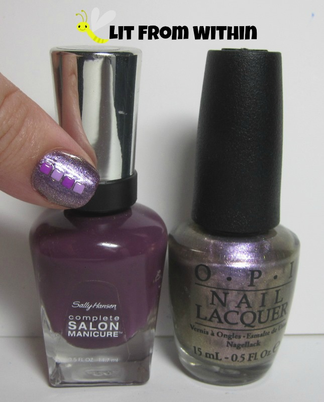 Bottle shot:  Sally Hansen Salon Trouble Maker and OPI Next Stop...The Bikini Zone