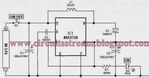1.5V Battery to 5V Voltage Converter Circuit Diagram
