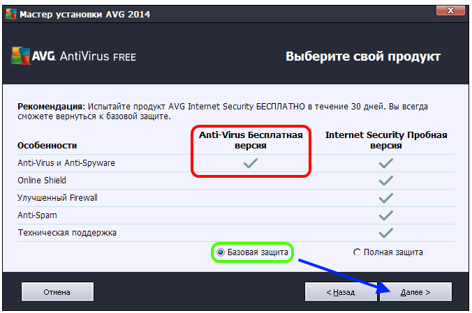 Бесплатная версия AVG Antivirus Free 2014