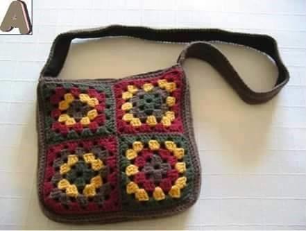 Nudos de lana crochet y ganchillo bolso crochet con cuadros granny - Bolsos tejidos a ganchillo ...