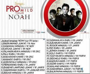 konser noah 25 kota di indonesia 2012 dan 2013