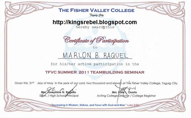 Tidbits And Bytes: Example Of Certificate Of Participation - Team