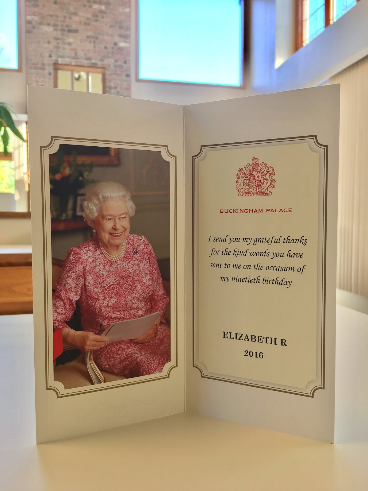 Gerts royals queen elizabeths 90th birthday reply the cards says buckingham palace i send you my grateful thanks for the kind words you have sent to me on the occasion of my ninetieth birthday bookmarktalkfo Choice Image