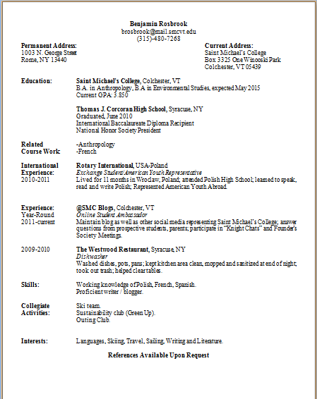 Words from Winooski Writing a Resume – Internship Proposal Example