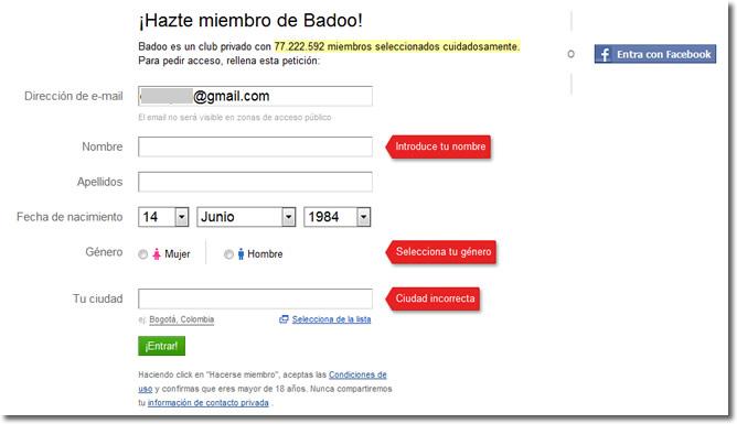 Registrarse a badoo