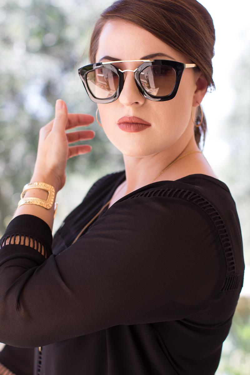 prada browbar black and gold sunglasses