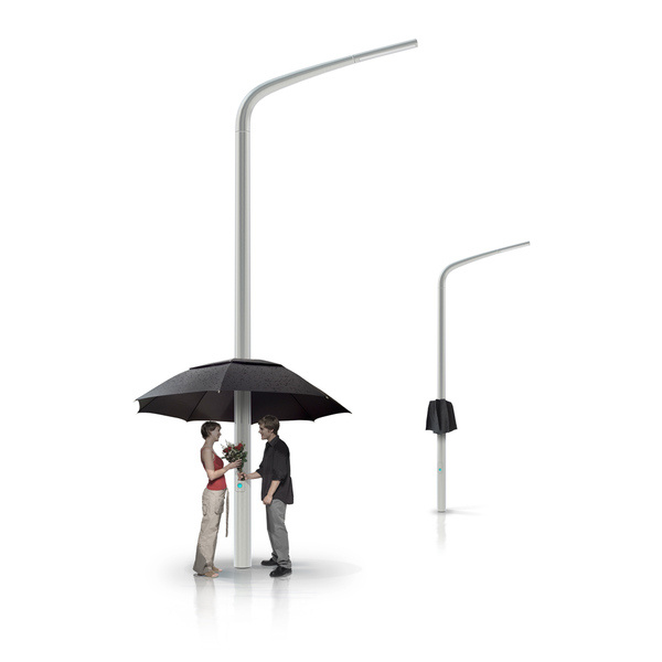 Illustration of people standing under the umbrella installed on the street lamp