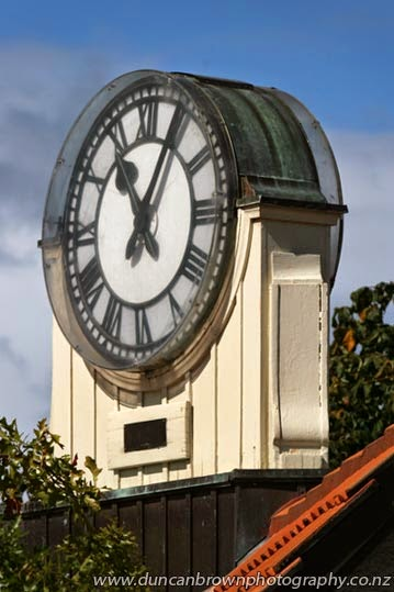 Havelock North Town Clock on top of the former Transformer House, which now houses the iSITE and Super Loos photograph