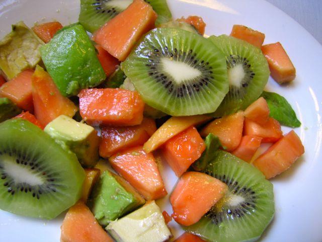 Papaya, avocado and kiwi salad