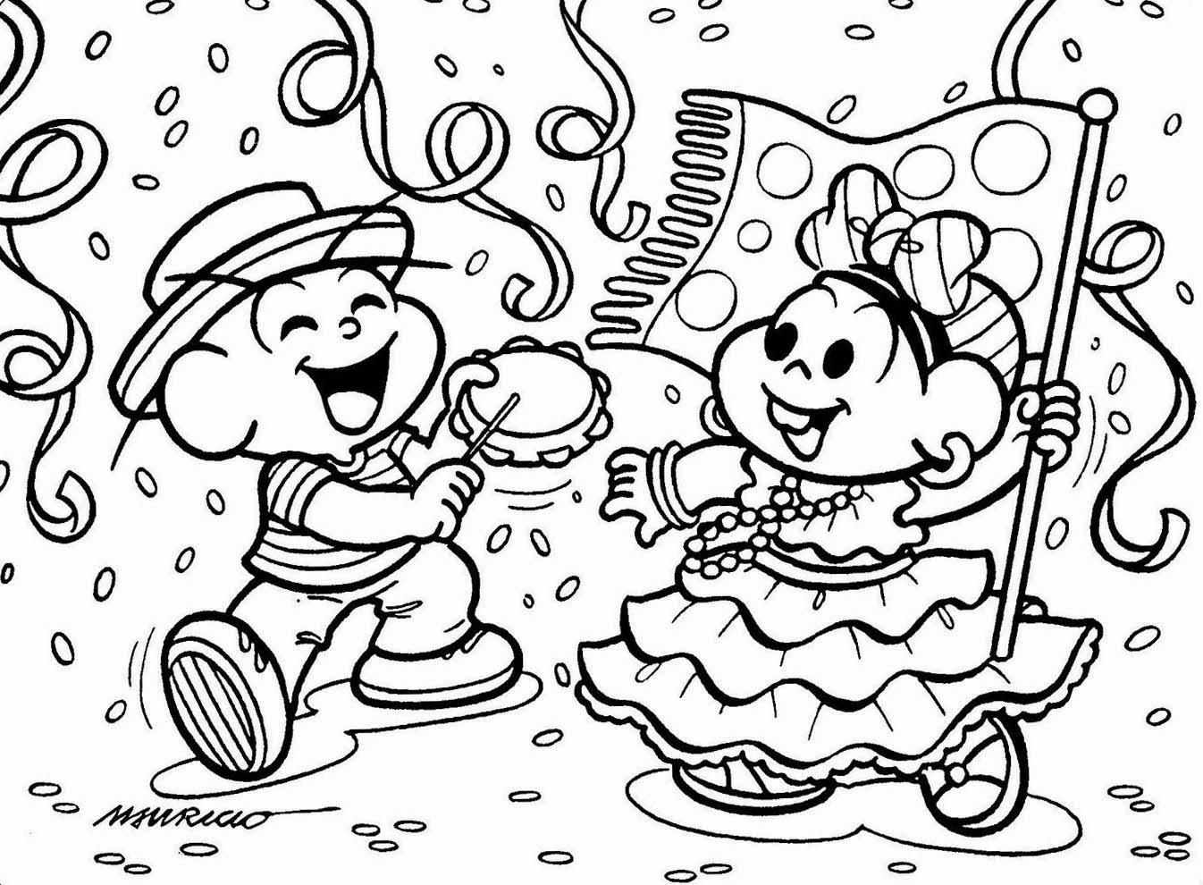 Desenhos Turma da Mônica Colorir Carnaval