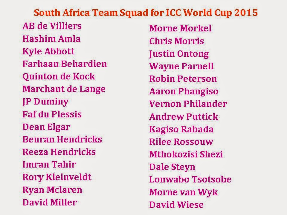 Learn New Things: South Africa Team Squad for ICC World Cup 2015
