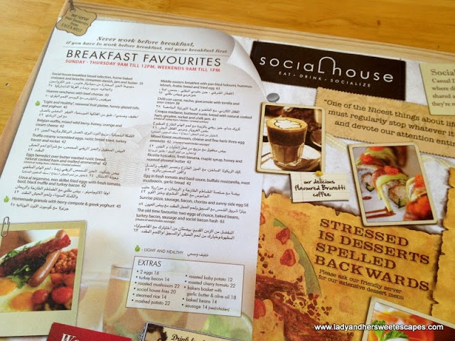 breakfast menu at Social House